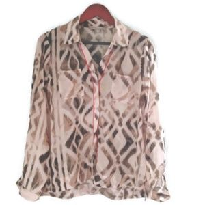 NY Collection Beige Sheer Multi-Print Blouse Sz XL